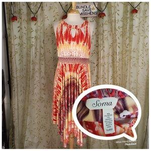 EUC SOMA ORANGE RED YELLOW BOHO HIPPY MAXI DRESS